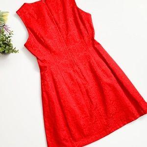 eva mendes for New York & Company Dresses - Eva Mendez Red Brocade Sleeveless Fit-Flare Dress